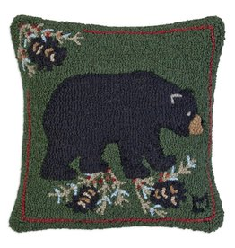 "Black Bear W/Cones 18""X18"" HKD Pillow"