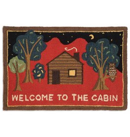 WELCOME TO THE CABIN ON RED 2x3 HKD RUG