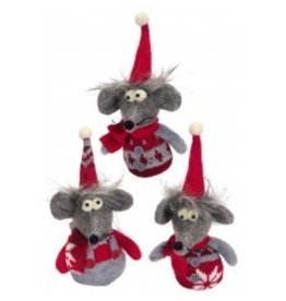 Gray Felt Mouse Ornament Individual