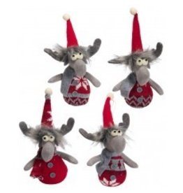 Gray Felt Wired Knit Moose Ornament Individual