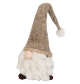 Wool Gnome Head With Gray Hat