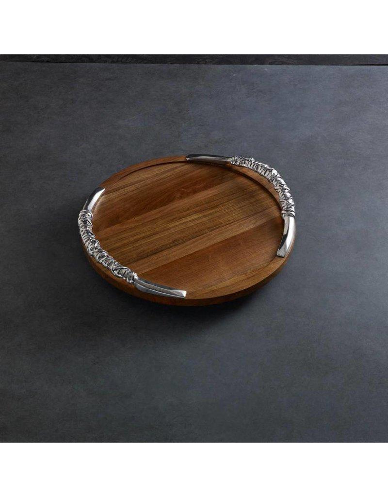 """Cutting Board Soho 18"""" Lazy Susan w/ Galena Handles Dark"""