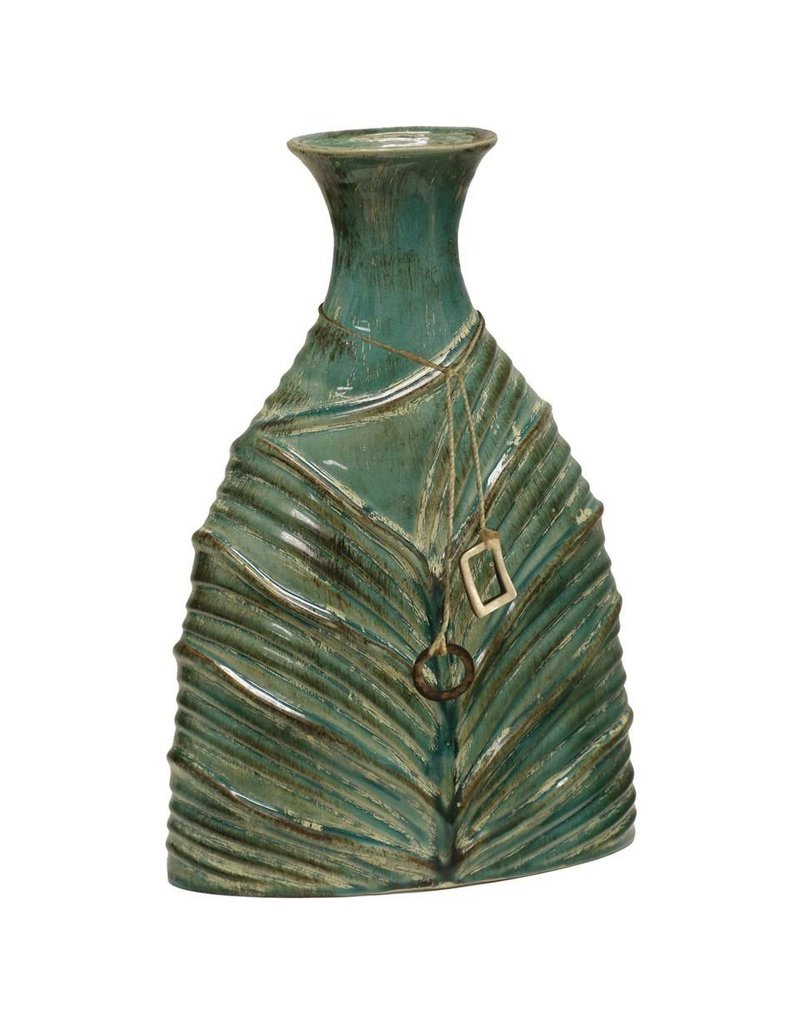 Mossy Oak Brand- Large Hunting Green Ceramic Vase with Tassel Trim