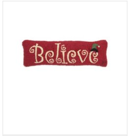 "Believe 8""x24"" Hooked Pillow"