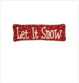 "Let it Snow 8""x24"" Hooked Pillow"