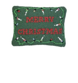Merry Christmas Lights 14 x 20 Hooked Pillow