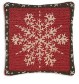 "Alpine Snowflake 18"" Hooked Pillow"