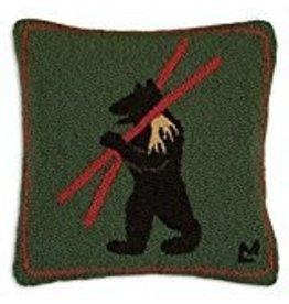 """Alpine Bear 18"""" x 18"""" Hooked Pillow"""