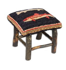 River Fish Brown Hickory Stool 17x15x15