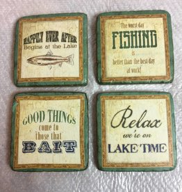 Resin Fishing Time Coasters - Set of 4