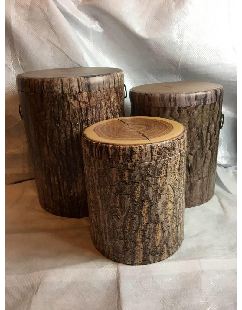Set of 3, Nested Faux Tree Bark Storage Stumps