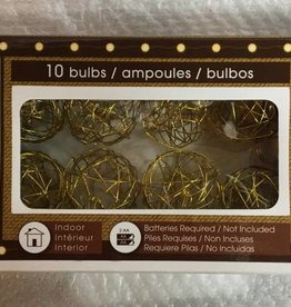 "40""L B/O Amber Gold Wire Sphere LED Light String, 10 Lights, Silver Wire"