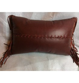 Leather Pillow-14x22 Dark Red Leather with leather fringe