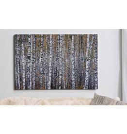 Painted Print on Canvas Wall Decor, Birch Trees