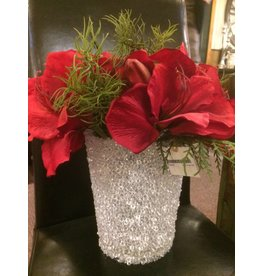 """12"""" Red Amaryllis in Clear Bead Pot"""