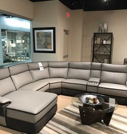 Homelegance Two Tone Grey Leather Reclining Sectional
