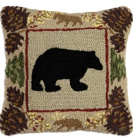 """North Woods Bear 18"""" Hooked Pillow"""