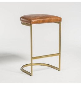 San Rafael Bar Stool in Tanned Umber and Antique Brass