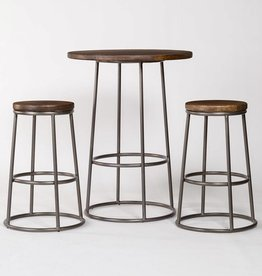 Loft Pub Table and 2 Loft Bar Stools in Refined Driftwood& Burnished Riviera