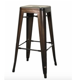 Metropolis Metal Backless Bar Stool, Gunmetal