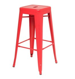 Metropolis Metal Backless Counter Stool--Red