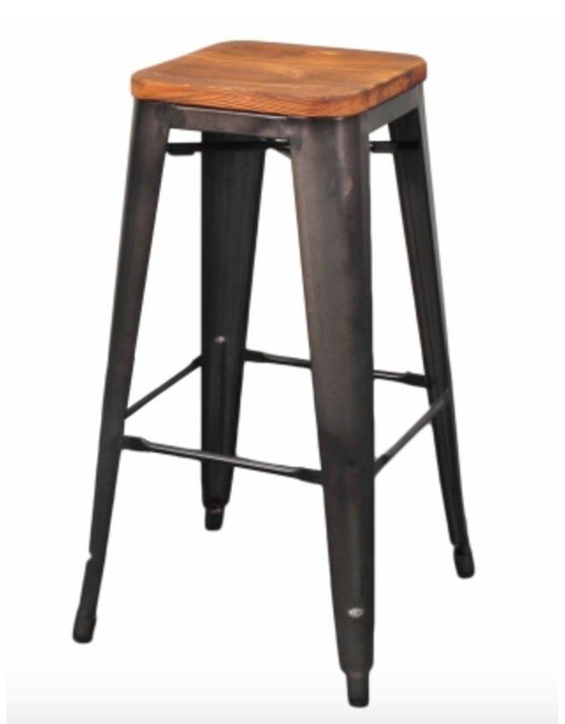 Metropolis Backless Bar Stool Wood Seat Gunmetal