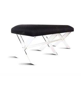Harlow KD Faux Fur Bench Acrylic Base, Black