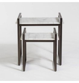 Santa Barbara Nesting Tables in Cloud Marble and Gunmetal, sold as a pair
