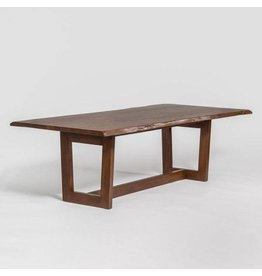 "Aspen 96"" Live Edge Dining Table in Dark Chestnut"