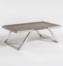 Austin Coffee Table in Grey Haze and Polished Chrome