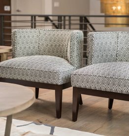 Chandler Occasional Chair in Woven Slate and Dark Walnut