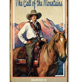 Cowgirl on Horseback Call of the Mountains 23x39