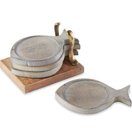 Wood Fish Coaster Set