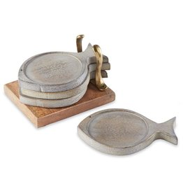 Wood Fish Coaster Set