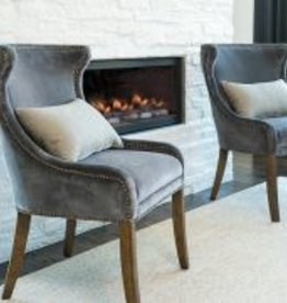 Bellevue Dining Chair in Velvet Graphite and Weathered Oak