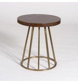 Braxton Accent Table in Dark Chestnut and Antique Brass