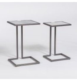 Bronx Nesting Tablesin Cloud Marble and Burnished Riviera - Sold as a Pair