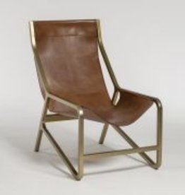 Del Mar Occasional Chair in Tanned Umber and Antique Brass