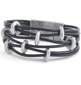 6 Strand Black Leather and Silver Disc Magnetic Bracelet