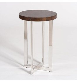 Harrison Accent Table in Dark Walnut and Polished Chrome