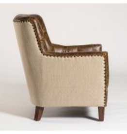 Hartford Occasional Chair in Vintage Cigar & Brindle Tweed with Dark Walnut