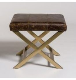 Hudson Cross Ottoman in Vintage Cigar and Antique Brass
