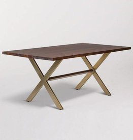 Jackson Dining Table in Dark Chestnut and Antique Brass