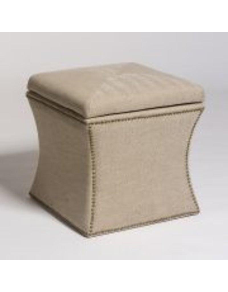 Manchester Cube Storage Ottoman in Khaki Herringbone