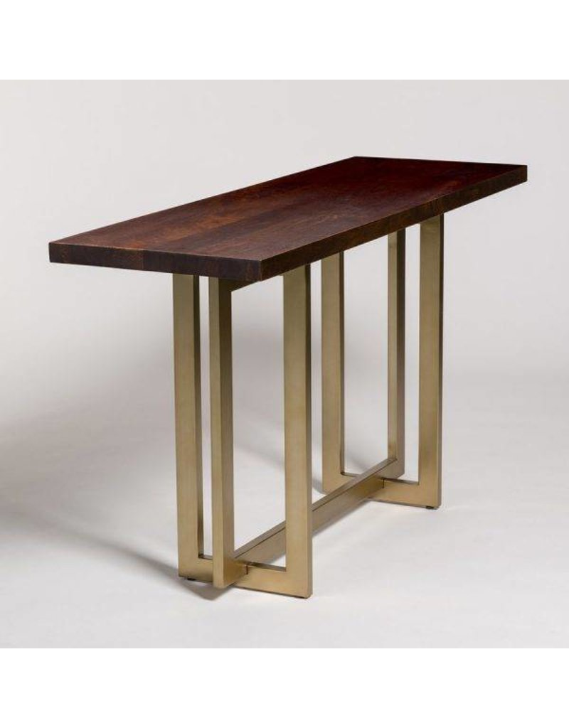 Manhattan Console Table in Dark Chestnut and Antique Brass
