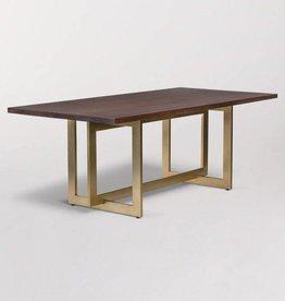 Manhattan Dining Table in Dark Chestnut and Antique Brass