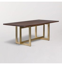 Manhattan Dining Table in Dark Chestnut and Antique Brass