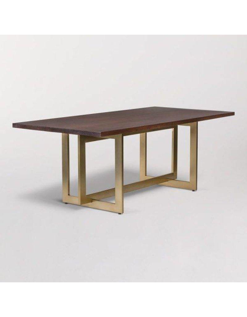 Manhattan Dining Table In Dark Chestnut And Antique Br