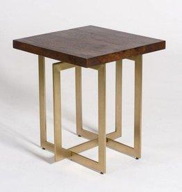 Manhattan End Table in Dark Chestnut and Antique Brass