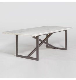 Menlo Park Dining Table in Cloud Marble and Burnished Riviera